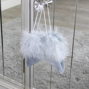 Small Grey Feather Angel Wings Hanging Decoration