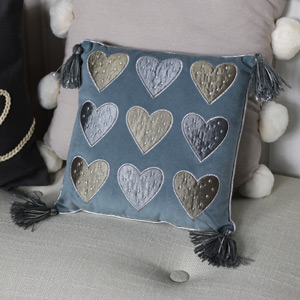 Small Grey Love Heart Scatter Cushion