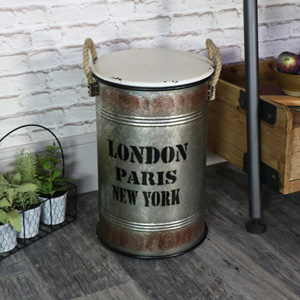 Small Industrial Metal Storage Bin with Lid