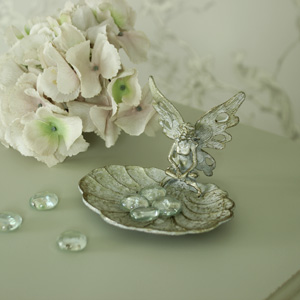 Small Metal Silver Fairy Trinket Tray