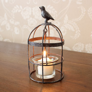 Small Perched Bird Rustic Birdcage Tealight Holder