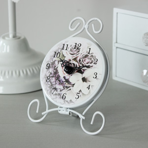 Small Purple Rose Clock