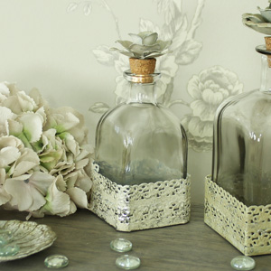 Small Square Glass Rose Corked Decorative Bottle