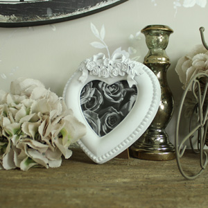 Small White Heart Photograph Frame