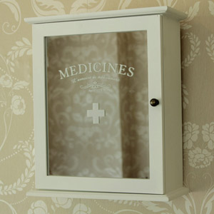 White Mirrored 'Medicines' Wall Cabinet