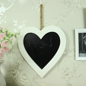 Small White Wooden Framed Love Heart Chalkboard