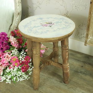 Small Wooden Vintage French Country Style Stool