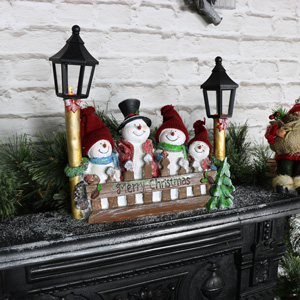 Snowman Family Ornament with LED Lamp Posts