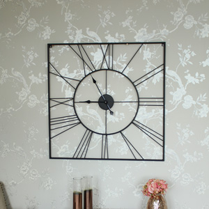 Square Black Skeleton Wall Clock