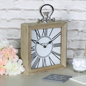 Square Wooden Vintage Mantel Desk Clock