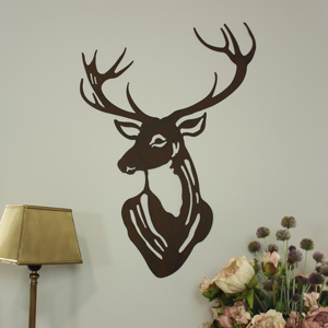 Stag's Head Metal Wall Art