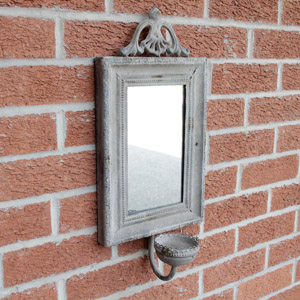 Stone Effect Mirror with Candle Sconce