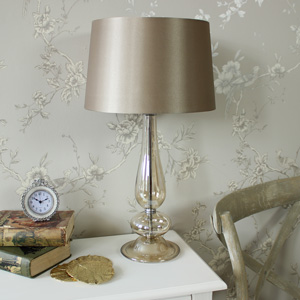 Table Lamp - Grey Glass Table Lamp with Shade