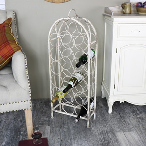 Tall Antique White Metal Wine Rack