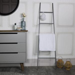 Tall Grey Metal Ladder Towel Rail