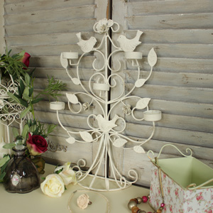 Tall Cream Decorative Metal Bird 5 Arm Tealight Holder