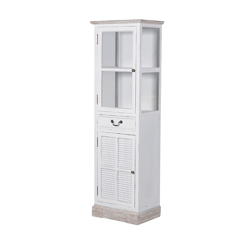 Tall Cream Glazed Display Cabinet with Cupboard Storage