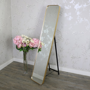 Tall Gold Framed Full Length Freestanding Cheval Mirror 31cm x 152cm