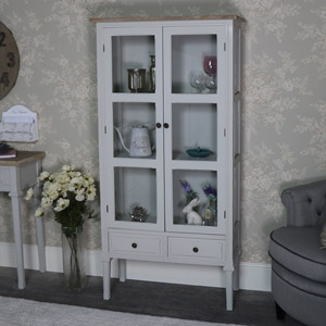 Tall Grey Glazed Display Cabinet - Stanford Range