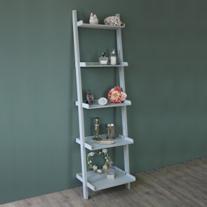 Tall Grey Ladder Style Wooden Bookcase Shelves