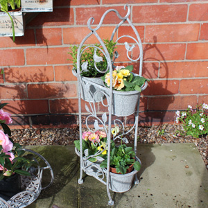 Tall Metal Ornate Bird & Leaf Garden Planter