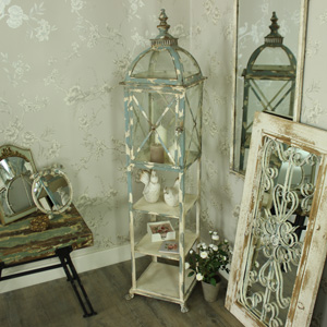 Tall Metal Vintage Style Candle Lantern with Shelves