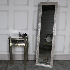 Tall Pearl White Crushed Velvet Framed Cheval Mirror