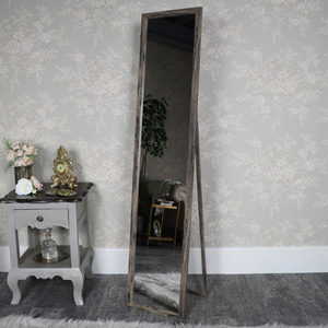 Tall Rustic Floor Standing Cheval Mirror 34cm x 154cm