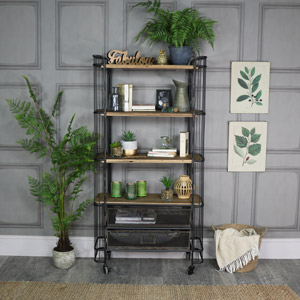 Tall Rustic Industrial Trolley with Drawer Storage