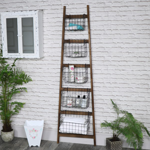 Tall Rustic Wooden Ladder with Basket Storage
