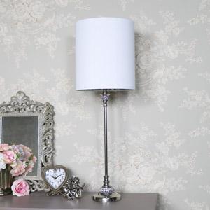 Tall Silver Diamante Table Lamp