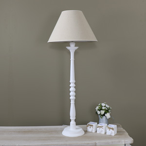 Tall White Table Lamp - White Lamp with Shade