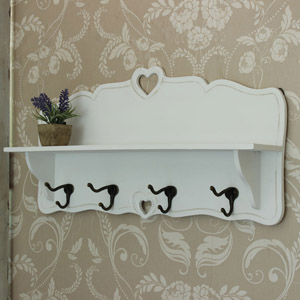 White Wooden 4 Hook Wall Mounted Rack