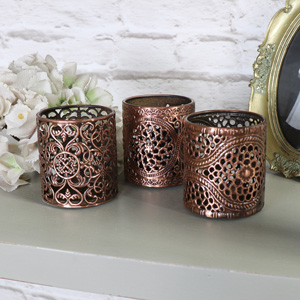 Three Copper Tea Light Holders