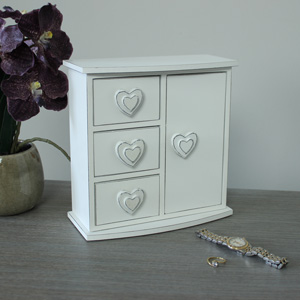 Three Drawer Double Heart Storage/Jewellery box
