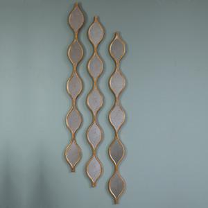 Three Tall Decorative Antique Gold Ripple Wall Mirrors 13.5cm x 146cm