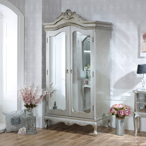 Mirrored Double Wardrobe - Tiffany Range DAMAGED SECOND ITEM 0048