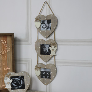 Triple Heart Hanging Photo Frames