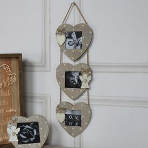Triple Heart Hanging Photo Frames