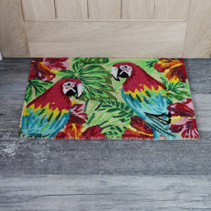 Tropical Parrot Coir Door Mat