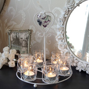 Purple and White Flower Heart Style Tealight Holder