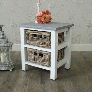 Two Drawer Wicker Storage Unit