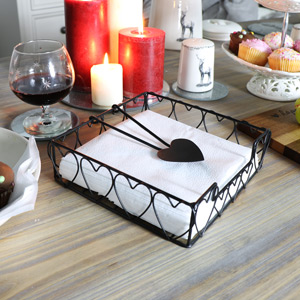 Vintage Black Metal Heart Napkin Holder