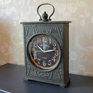 Vintage Charcoal Grey Carriage Clock