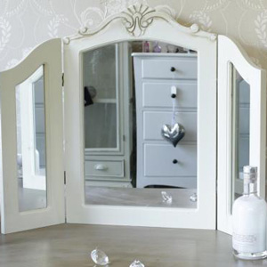 Triple Carved Cream Dressing Table Mirror - Belfort, Country Ash or Cottage Range 74cm x 58cm
