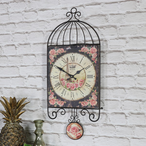 Vintage Floral Wall Clock with Pendulum