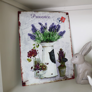 Vintage French Lavender Metal Wall Plaque