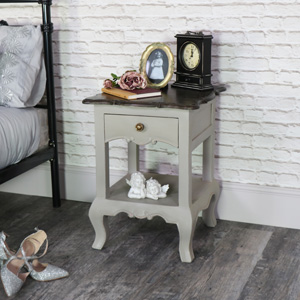 Vintage Grey Bedside Lamp Table - Leadbury Range