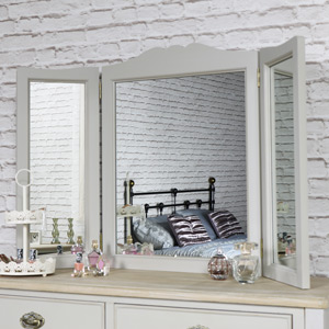 Vintage Grey Triple Dressing Table Mirror - Albi Range
