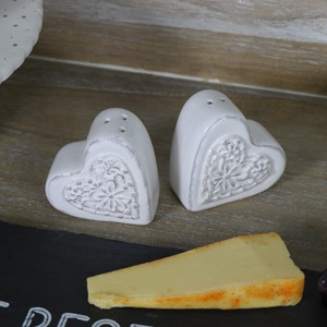 Vintage Heart Salt & Pepper Cruet Set